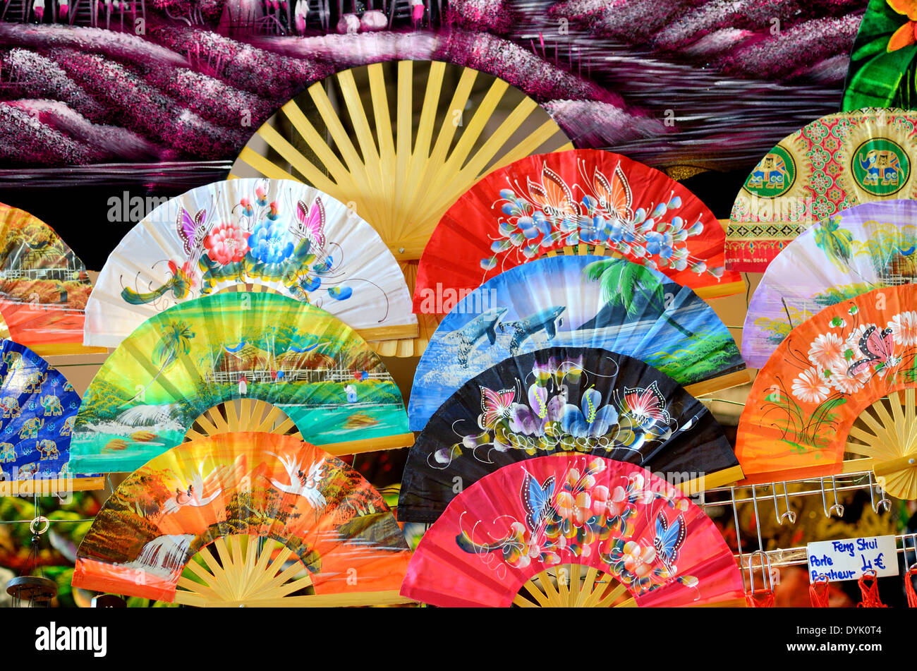 2c9f8a881a329 Paper or Display of Chinese Paper and Bamboo Fans - Stock Image