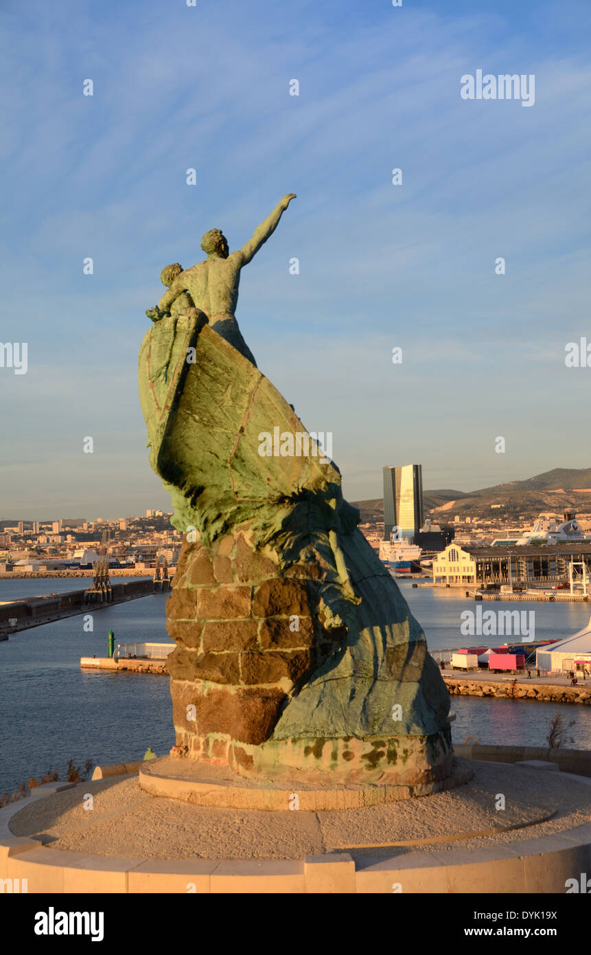 Sailors Monument in Pharo Park & Gardens Overlooking the Port & Docks Marseille France - Stock Image