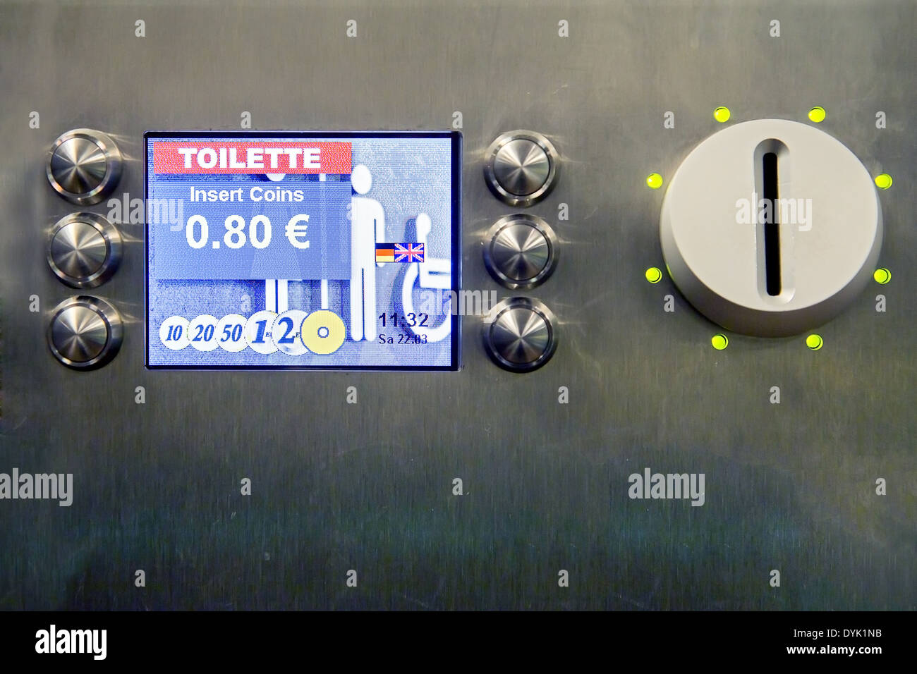 fee on the toilet - self-service automate - Stock Image