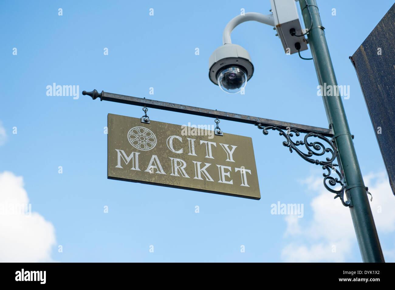 USA Public security safety surveillance overhead camera in the City Market of Savannah GA Georgia Stock Photo
