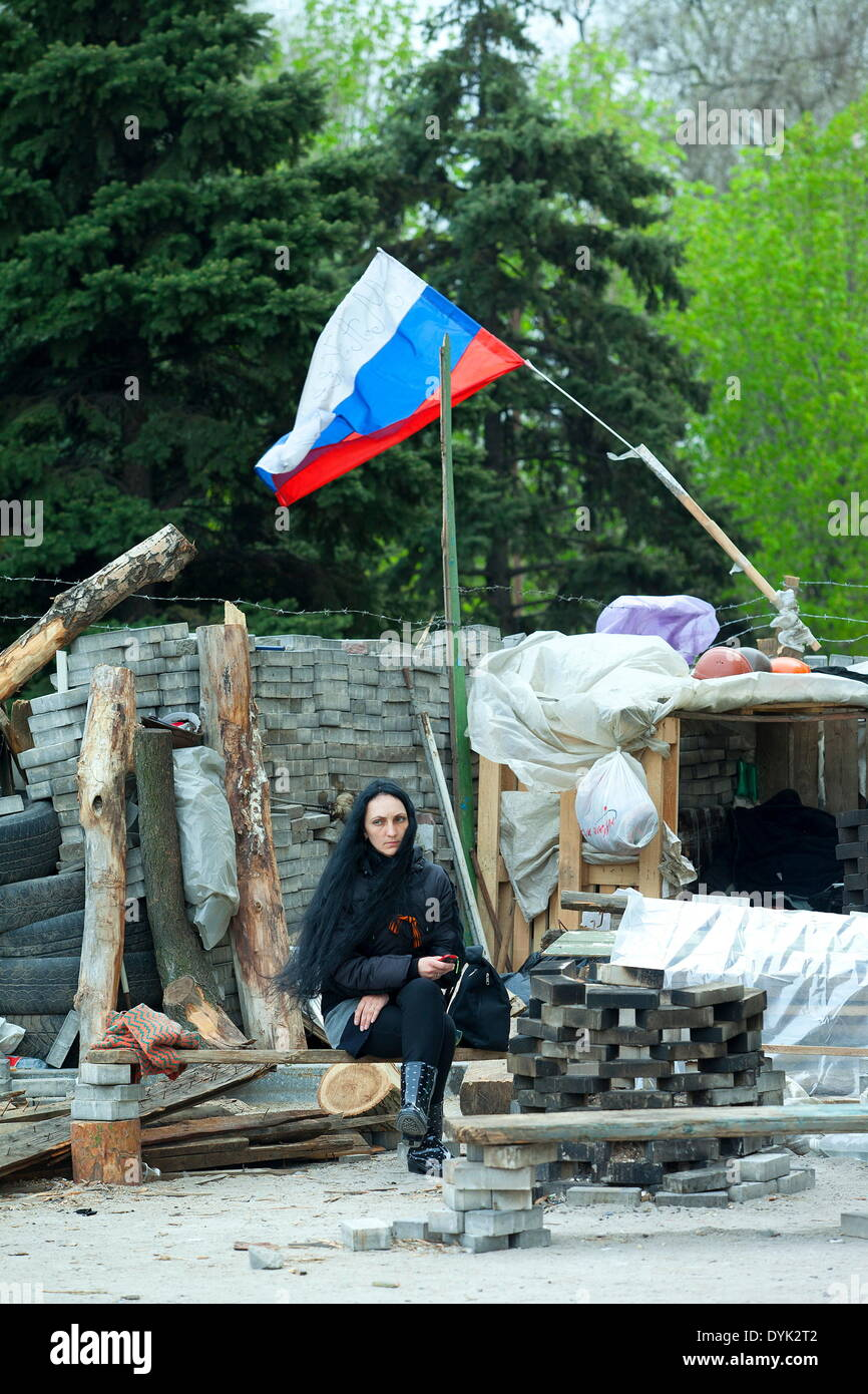 The Russian population of Donetsk in the Ukraine met today at the barricades in front of the city hall occupied Stock Photo