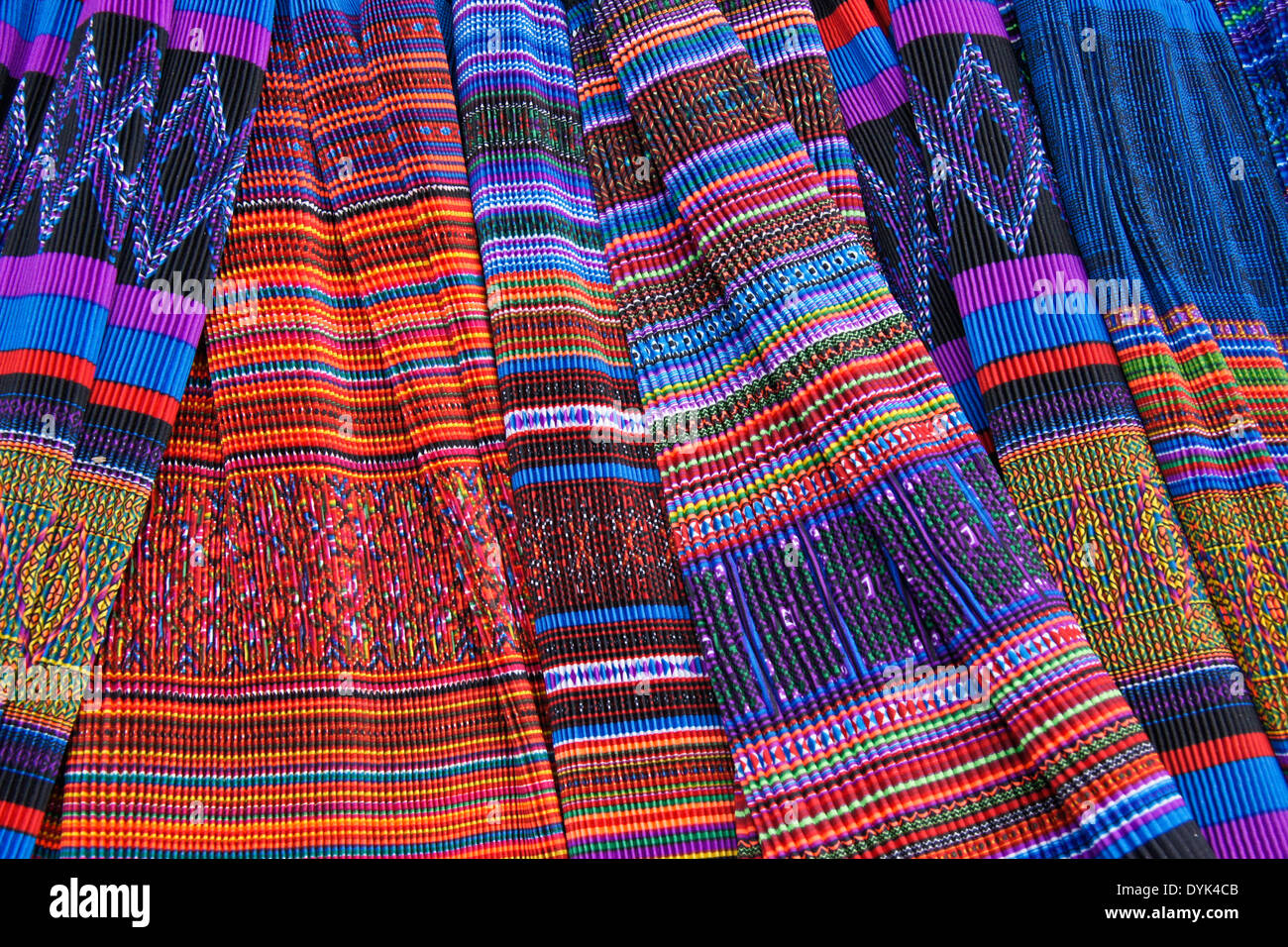 Flower Hmong pleated skirts for sale in market, Sapa (Sa Pa), North Vietnam - Stock Image