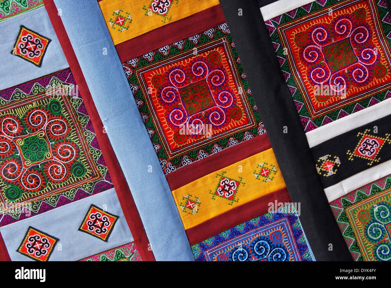 Embroidery of Hmong women, Sapa (Sa Pa), North Vietnam - Stock Image