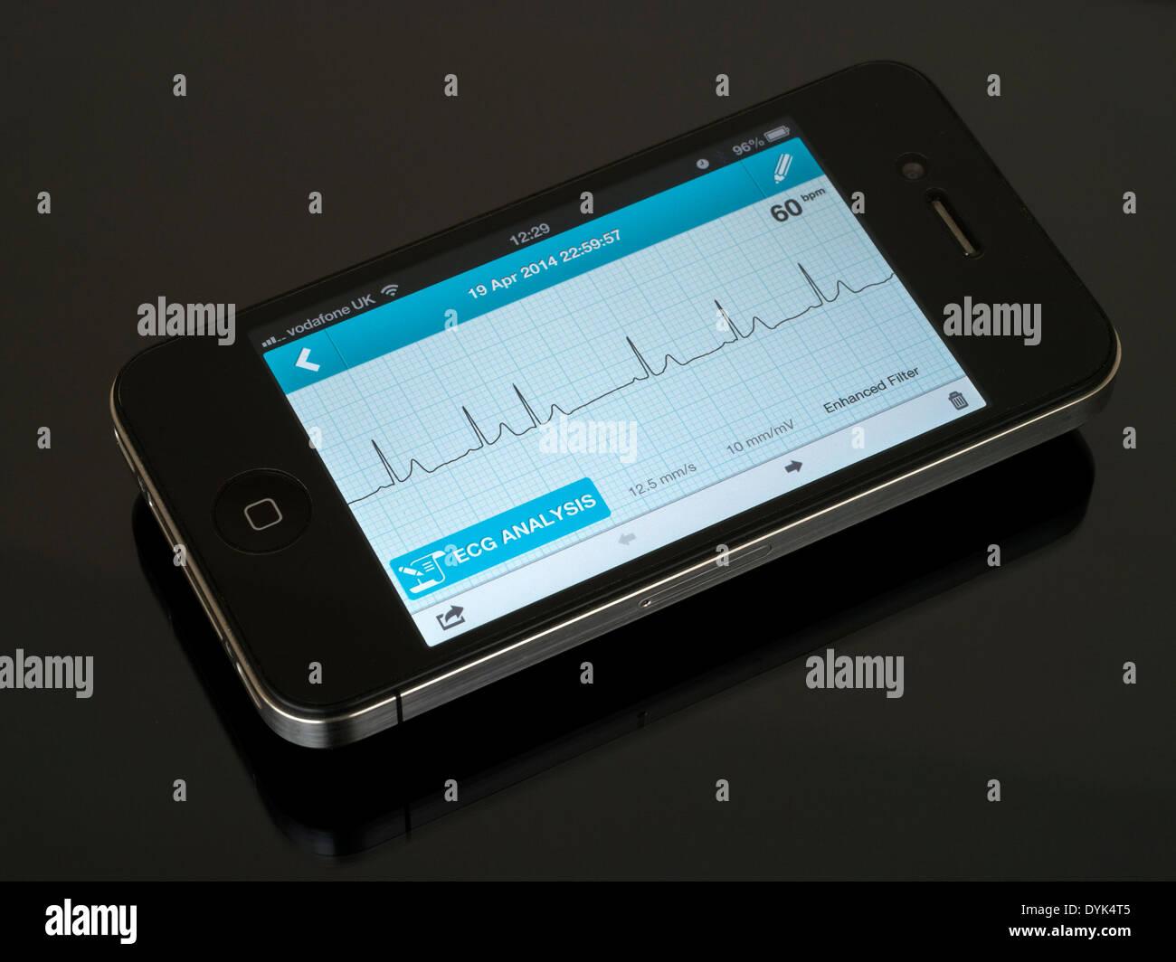 Portable ECG EKG Heart Monitor App running on iPhone 4 showing