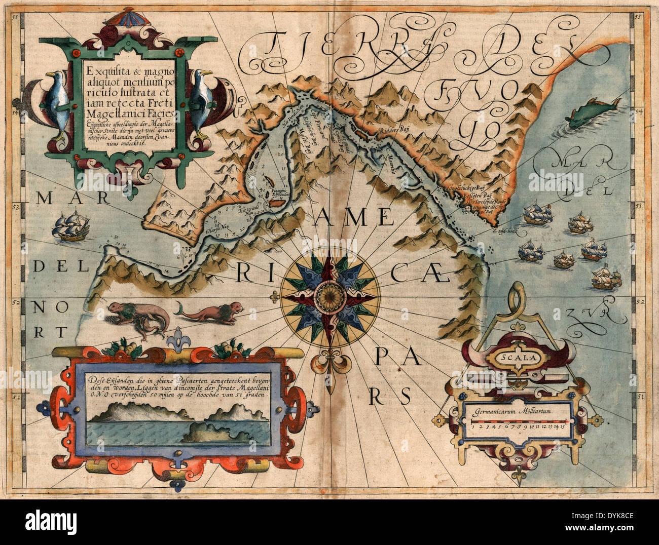 Map of Magellan Straits, circa 1611 - Stock Image