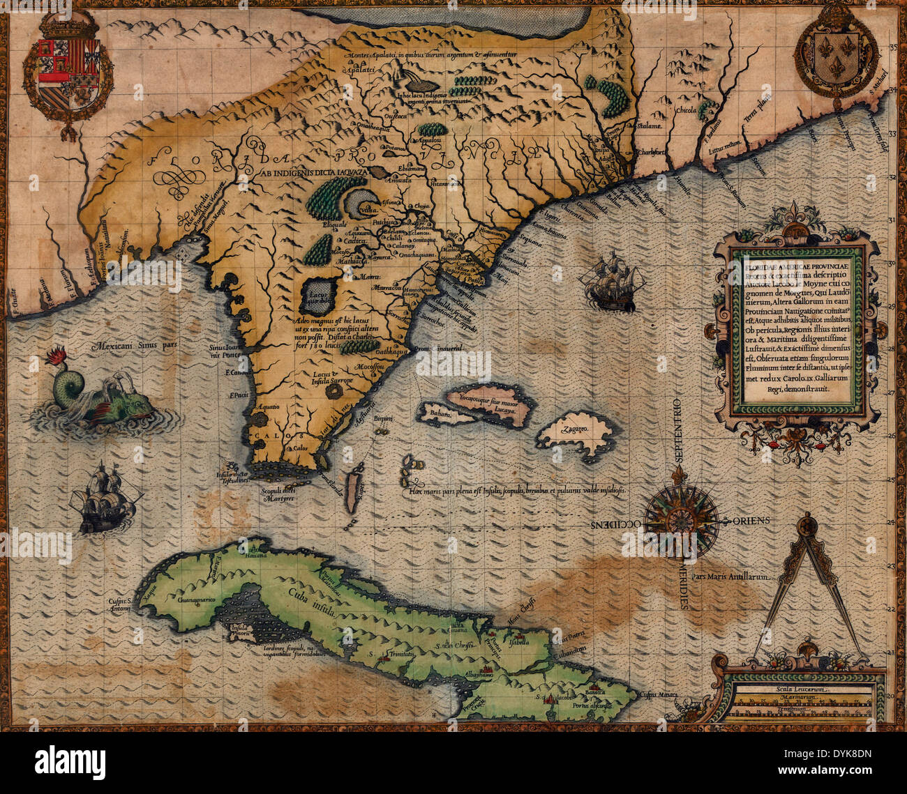 Map of florida and cuba stock photos map of florida and cuba stock map of florida and cuba circa 1588 stock image gumiabroncs Image collections