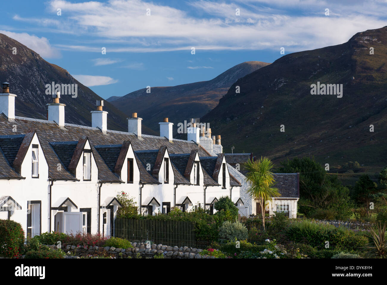 fishermans cottages at catacol aka the twelve apostles - Stock Image