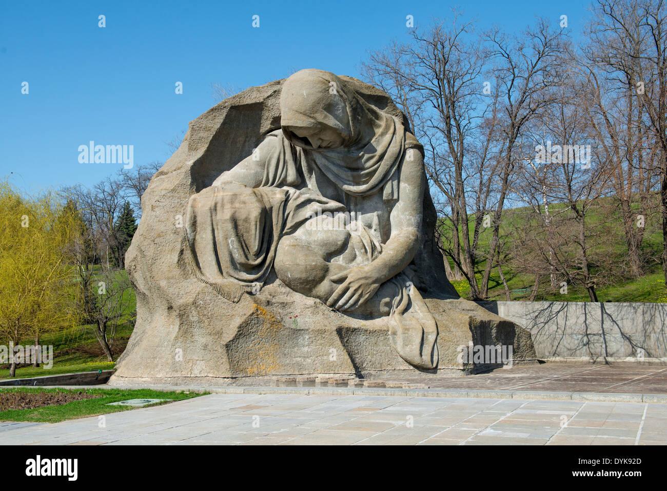 The monument of Grieving Mother in Mamayev Kurgan memorial complex in Volgograd (former Stalingrad), Russia. - Stock Image