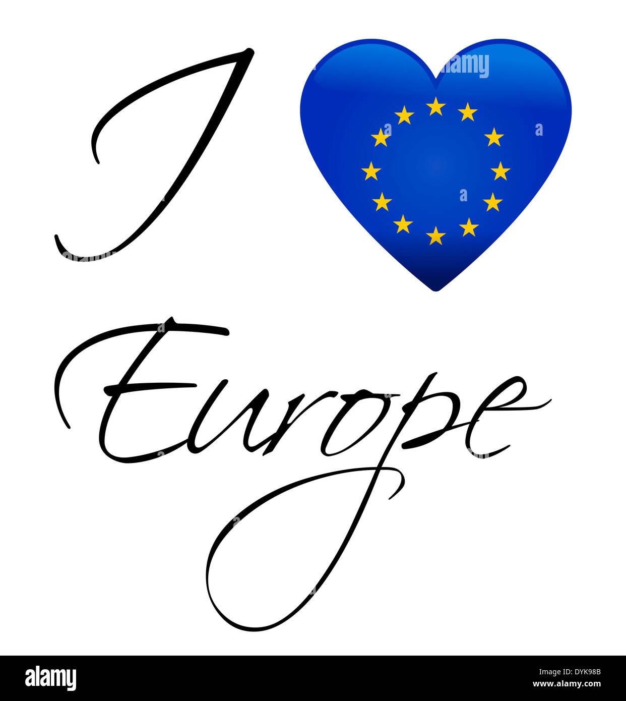 I Love Europe - European union flag - Stock Image