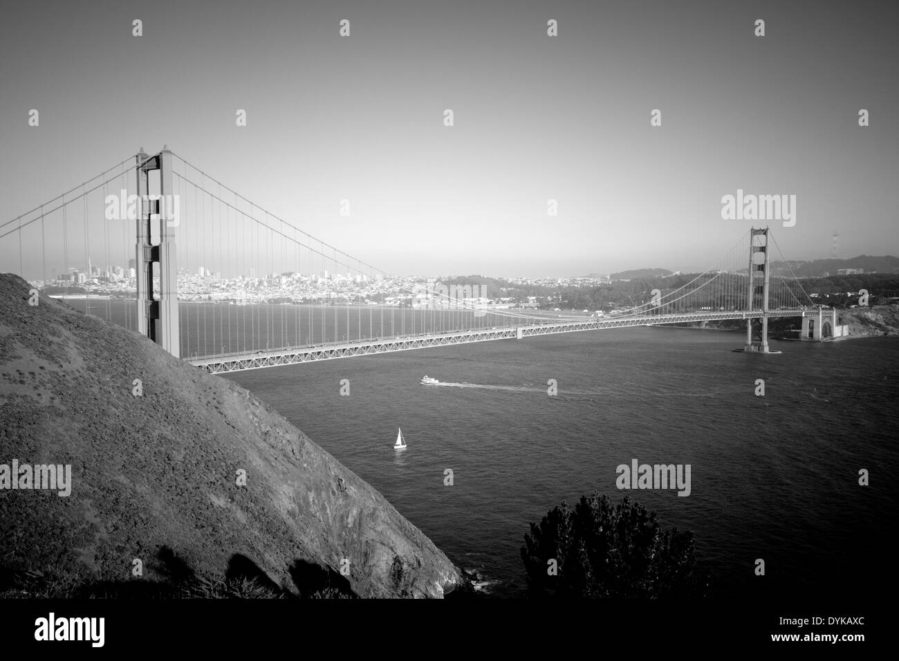 A Black And White Aerial View Of The Golden Gate Bridge As