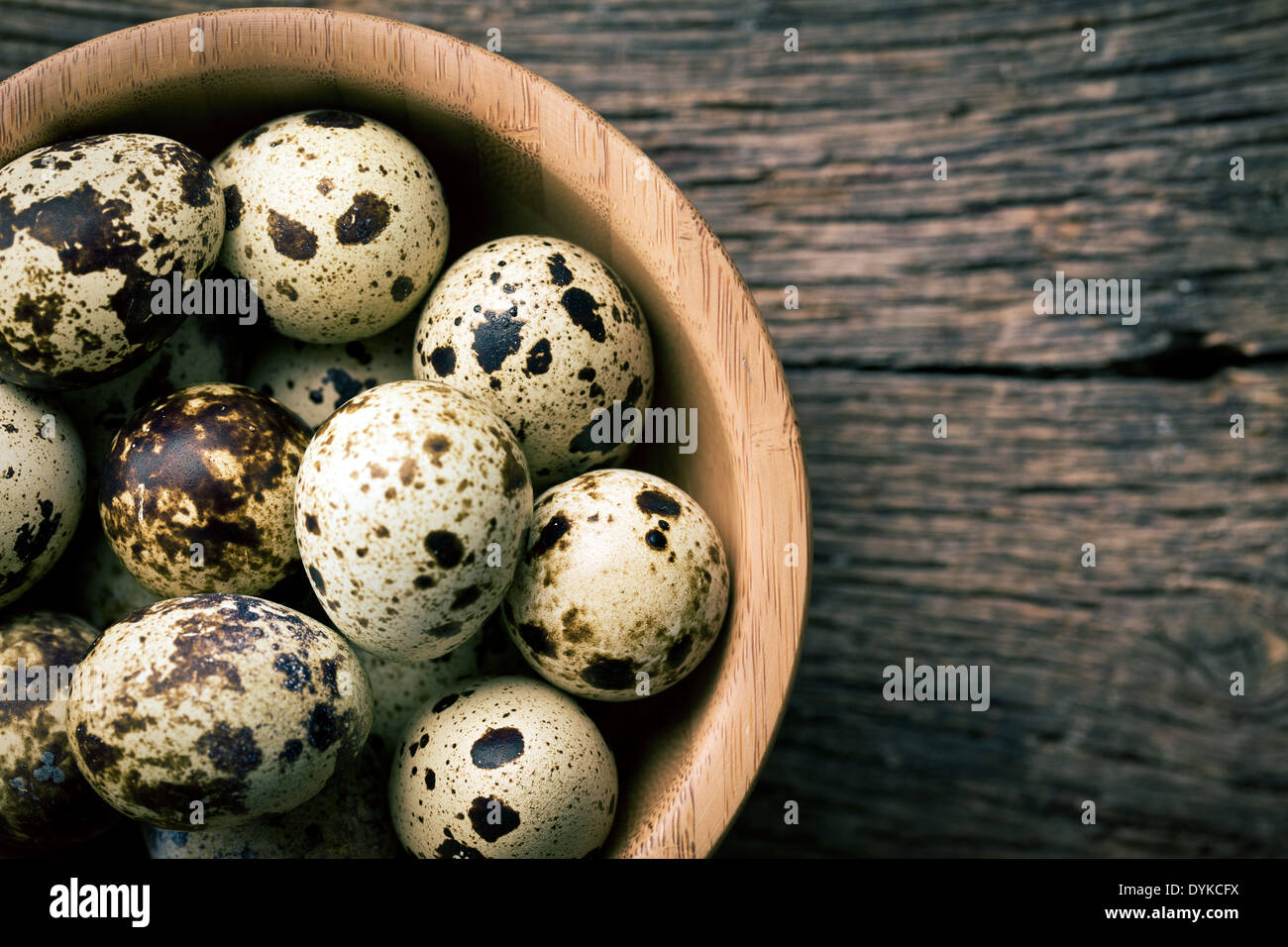 the top view of quail eggs in bowl Stock Photo