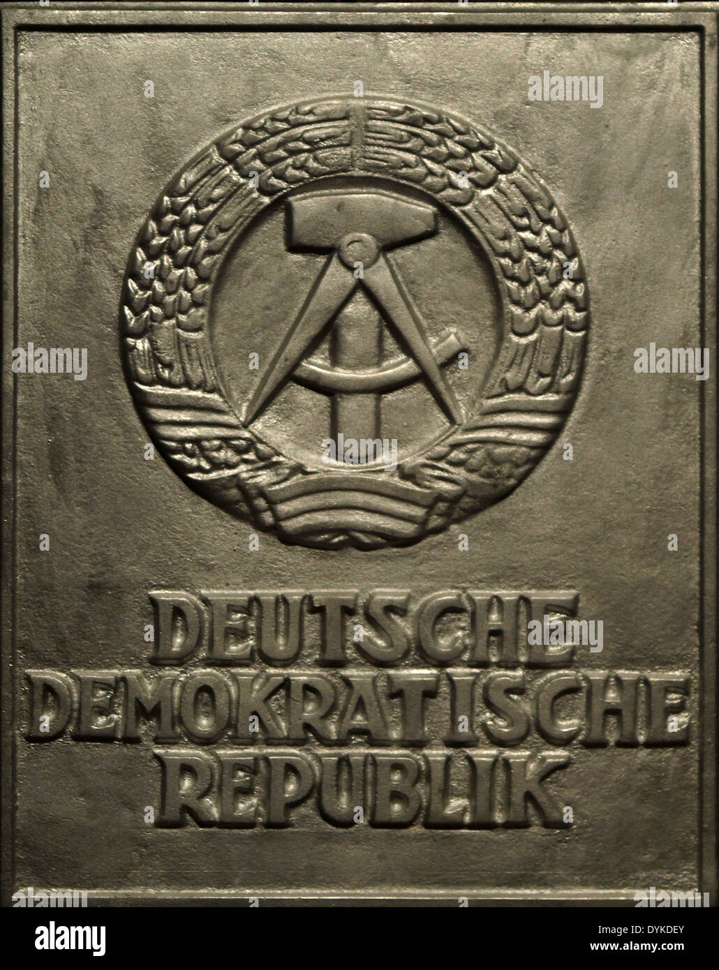 Relief With Symbol Of Gdr Exhibition Gdr German Democratic Stock