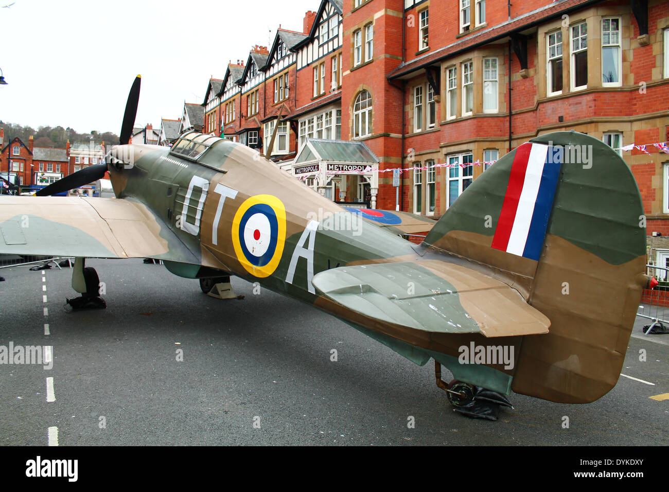 A hurricane plane landed in the road - Stock Image