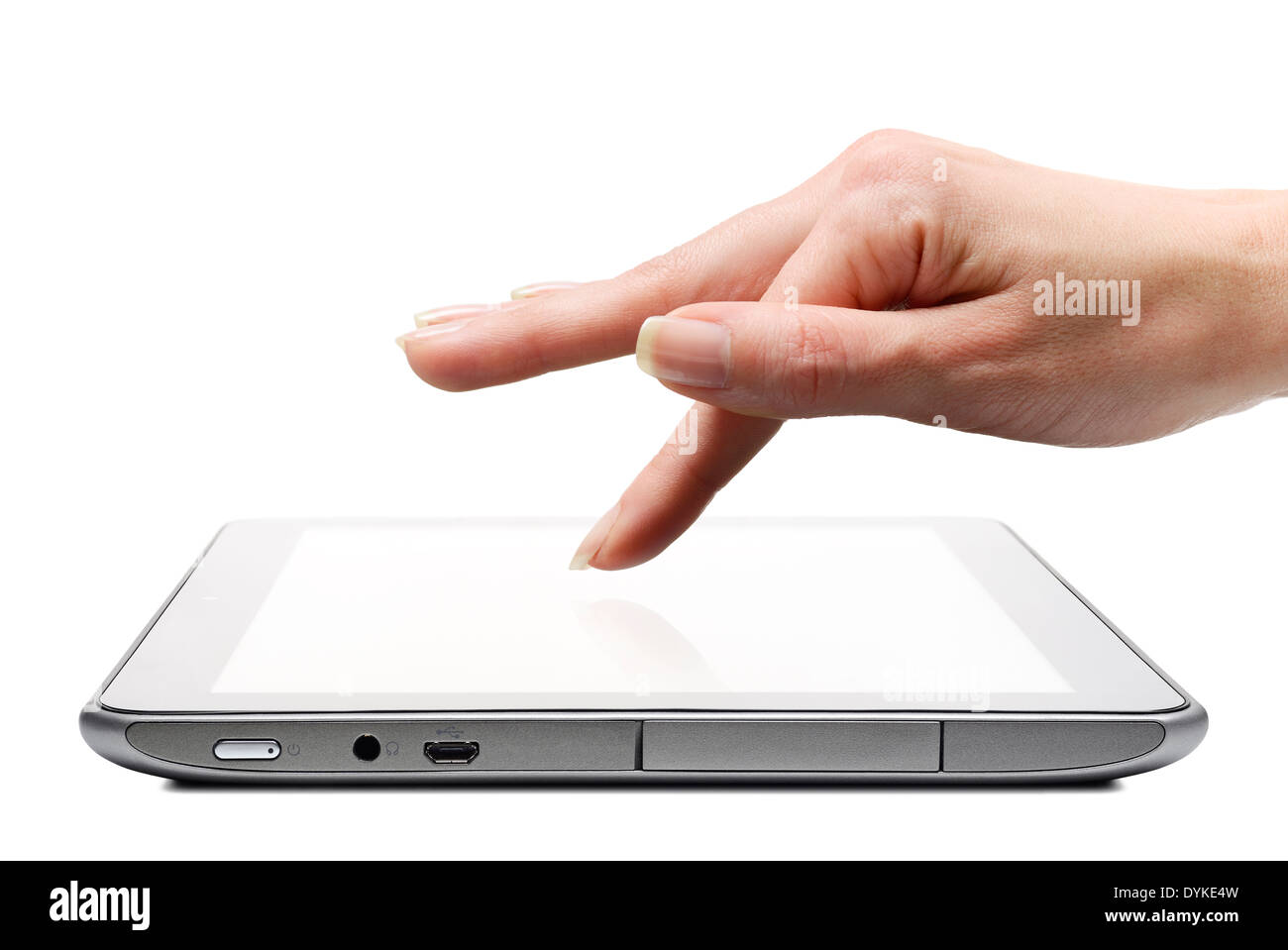 Tablet App Being Selected by a Finger on the Touchscreen, Cut Out, Close Up. - Stock Image