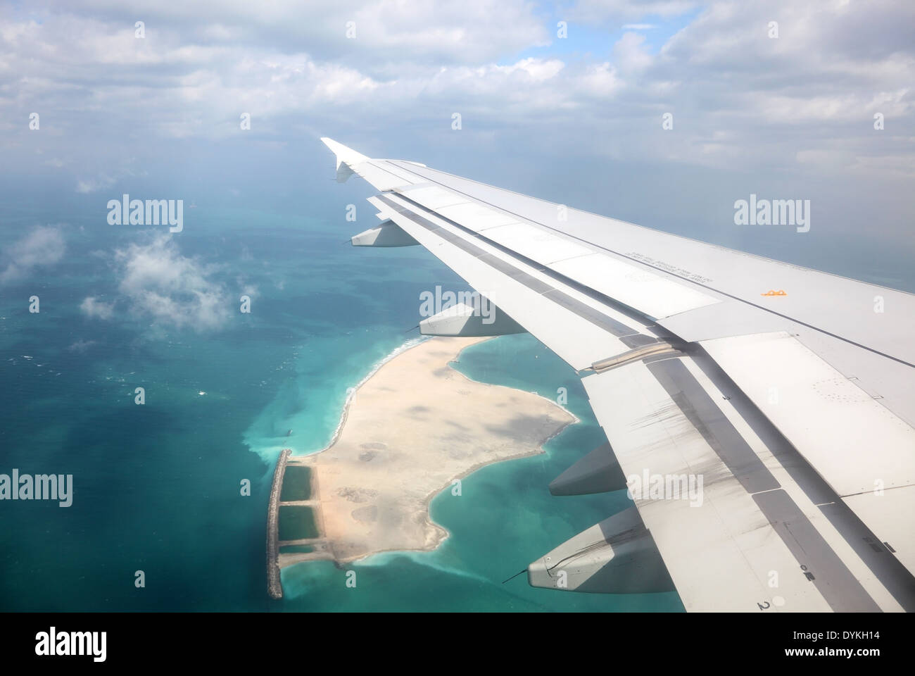 Aerial view of an artifical Island in the Persian Gulf - Stock Image
