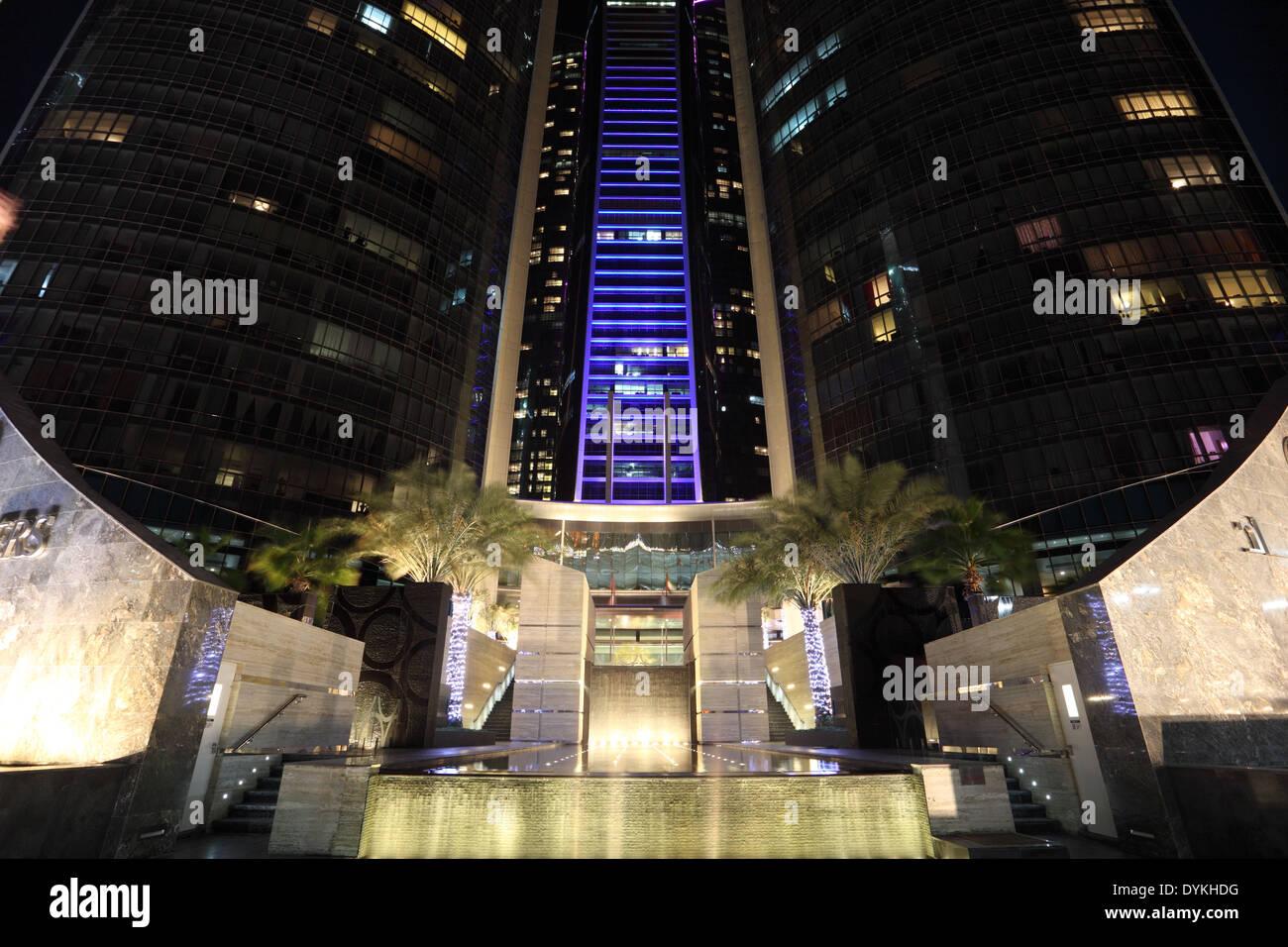 Etihad Towers at night. Abu Dhabi, United Arab Emirates - Stock Image
