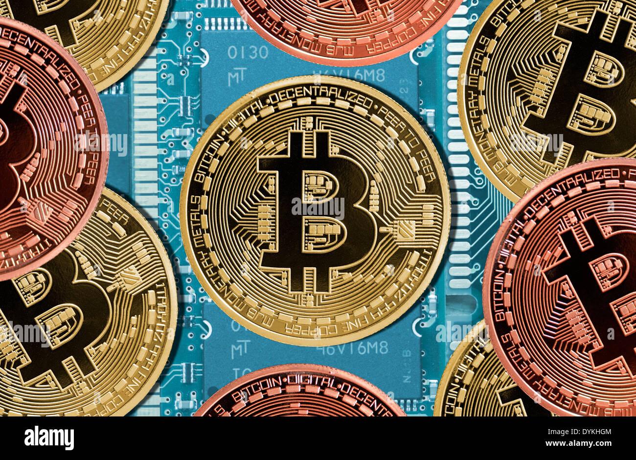 Bitcoin-Münzen als Symbol für die digitale Online-Währung Stock ...