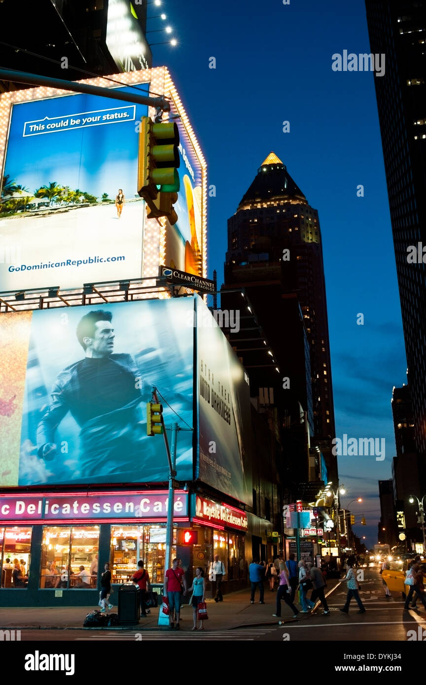 Lighted Billboards at twilight, Times Square New York City - Stock Image