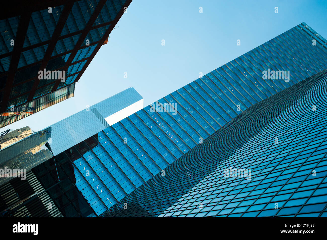 Tall glass buildings in Lower Manhattan, downtown New York City - Stock Image