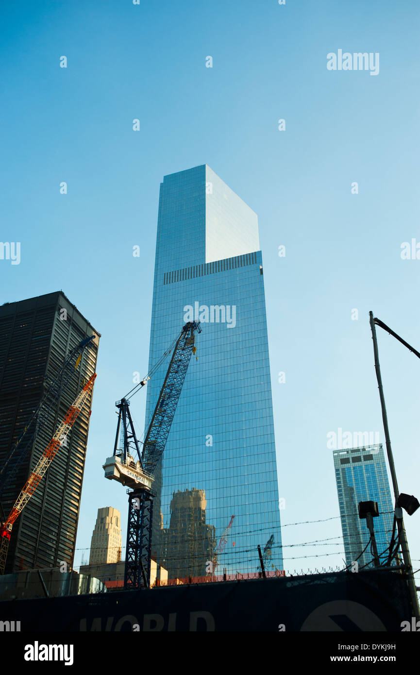 Tall glass buildings under construction in Lower Manhattan New York City - Stock Image