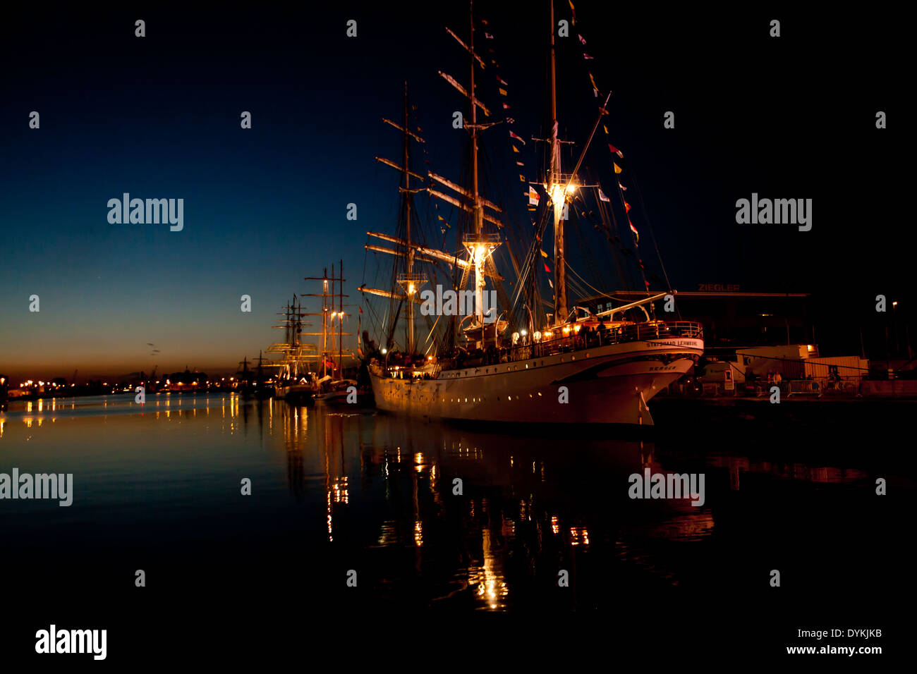 19th century sail ship from the Tall Ship's Race in Antwerp at night, beautifully lit. Stock Photo