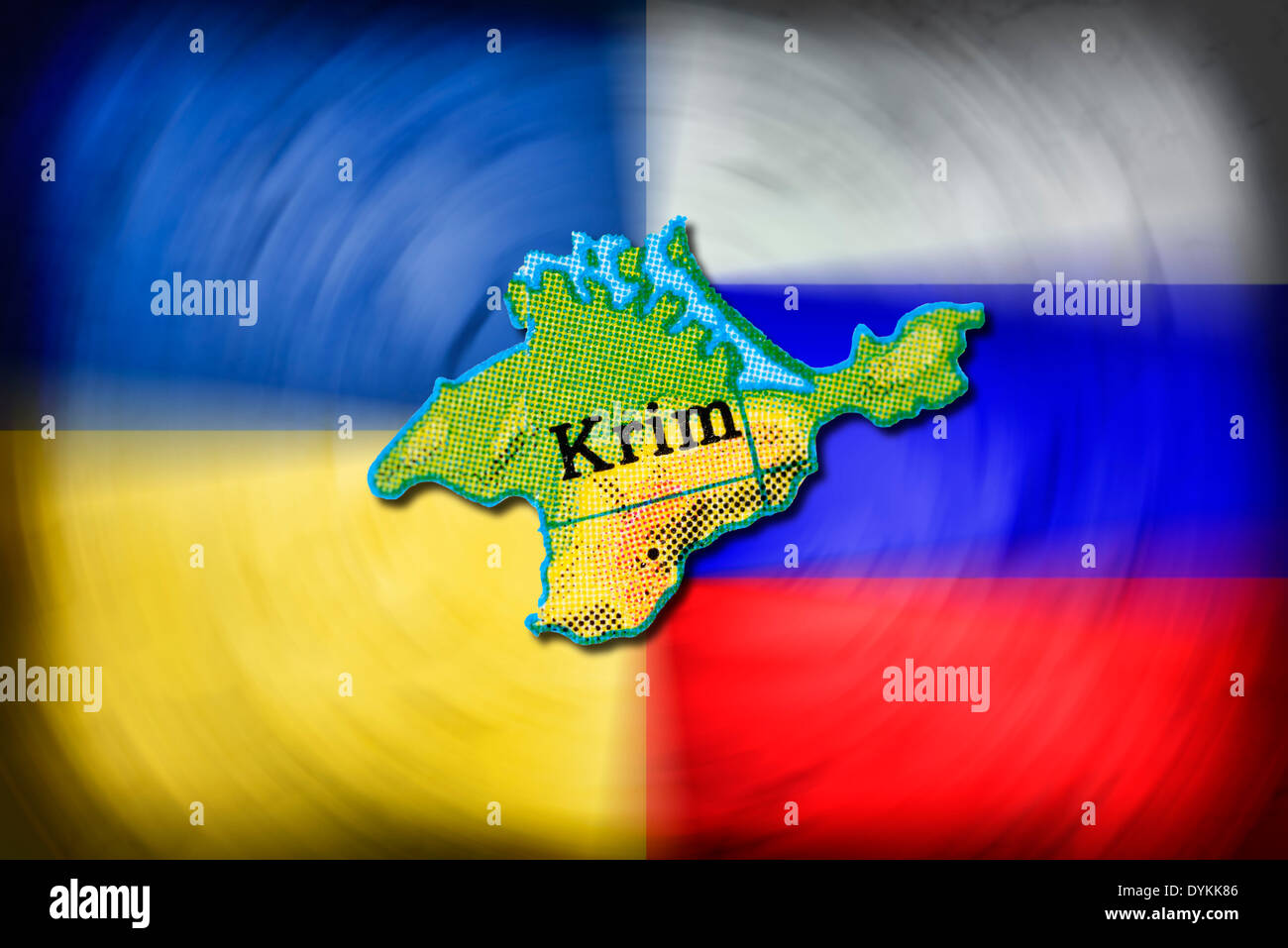 Karte der Krim vor den Fahnen von Ukraine und Russland, Krim-Krise - Stock Image