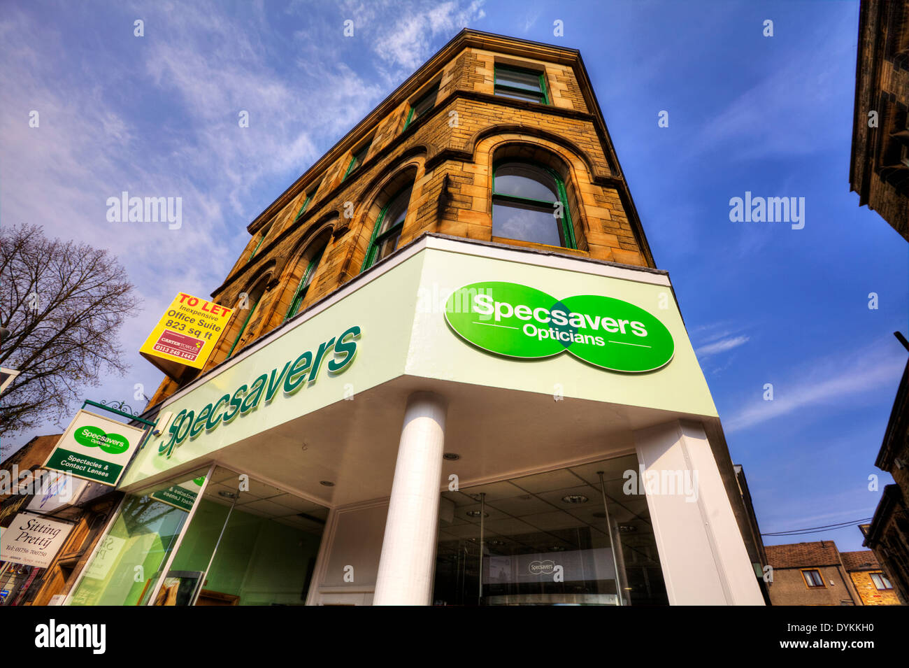 Specsavers shop sign optician high street shops Skipton Town Yorkshire Dales National Park, UK England - Stock Image