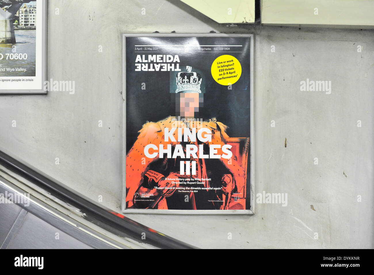 Angel Tube station, London, UK. 21st April 2014. Posters displayed on the underground showing play have his face pixelated, while the poster outside the theatre does not. Credit:  Matthew Chattle/Alamy Live News - Stock Image