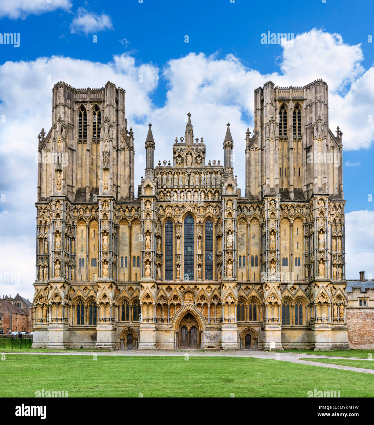 Front of Wells Cathedral, Wells, Somerset, England, UK - Stock Image