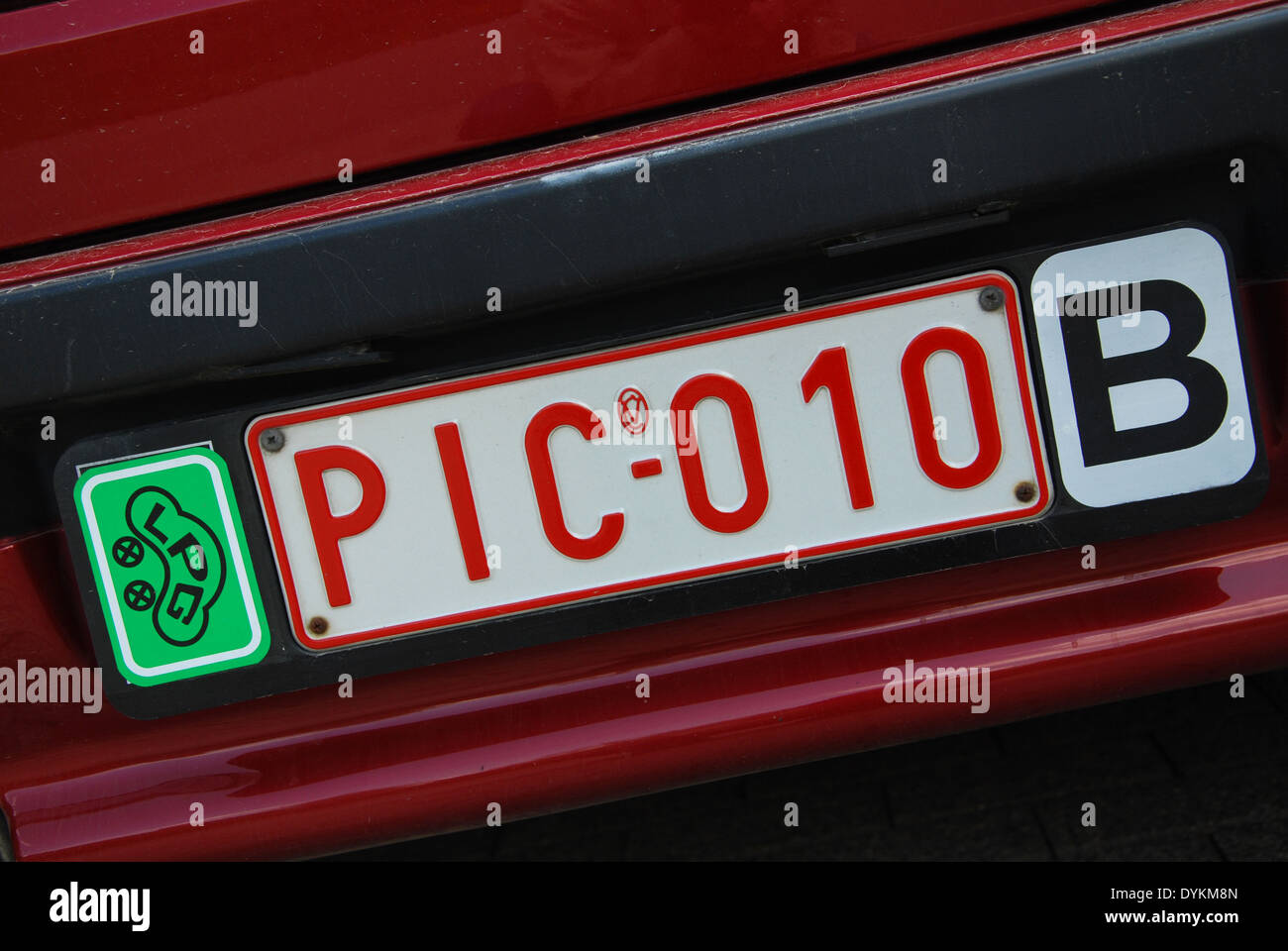 Posh English Words Funny Licence Plate On Belgian Car Stock Photo 68659829