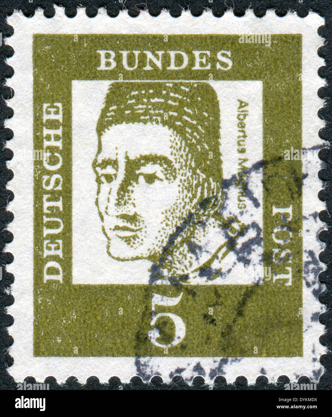 GERMANY - CIRCA 1961: Postage stamp printed in Germany, shows portrait of St. Albertus Magnus, circa 1961 - Stock Image