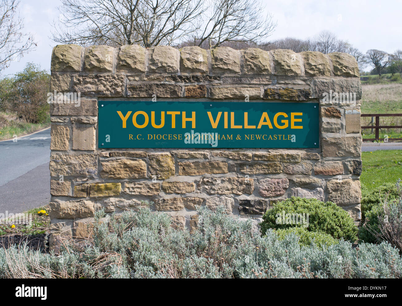 Youth Village R.C. Diocese of Hexham and Newcastle sign Allensford, north east England UK - Stock Image