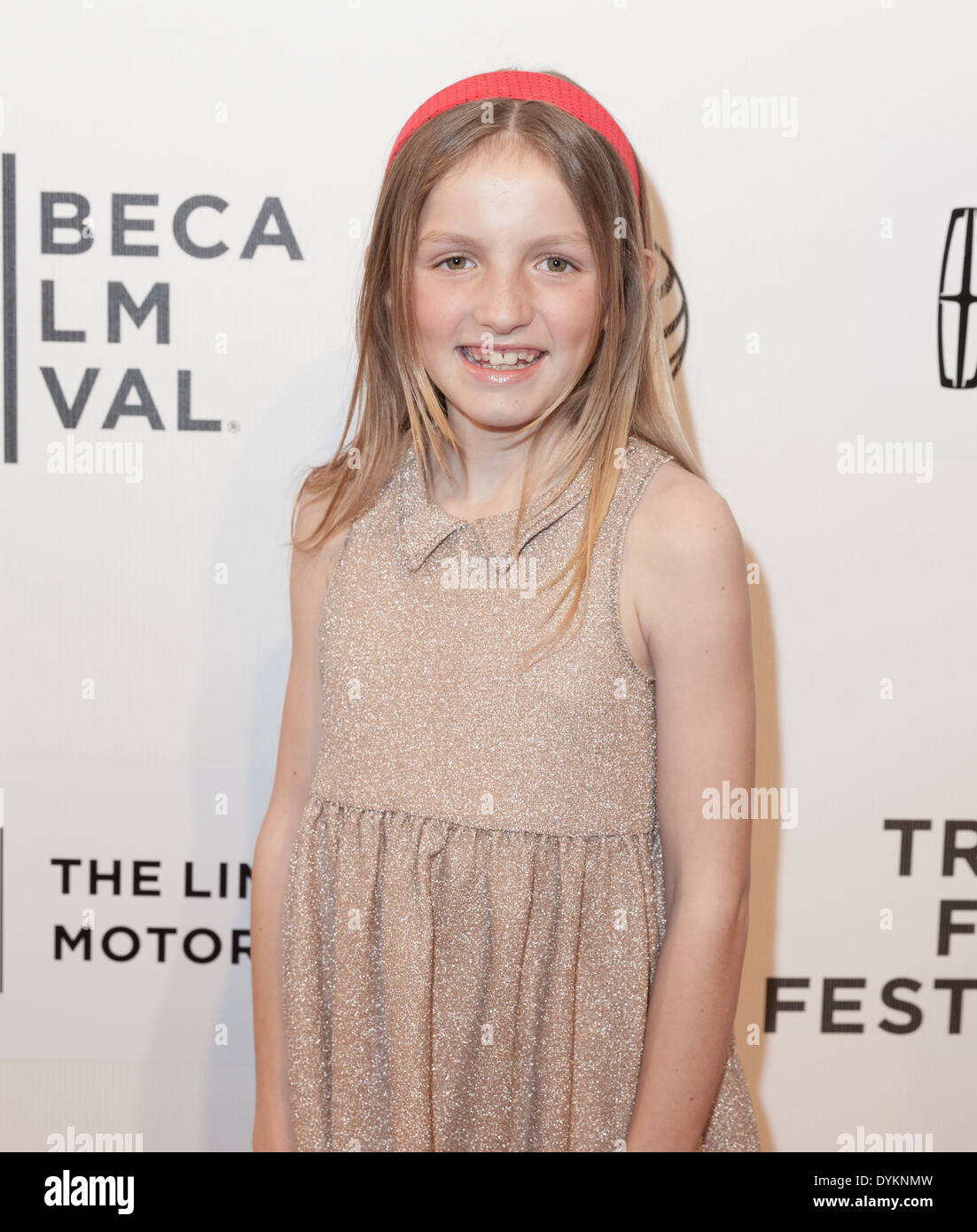 NEW YORK, NY - APRIL 20, 2014: Eva Grace Kellner attends premiere Every Secret Thing movie during 2014 Tribeca Film Festival - Stock Image