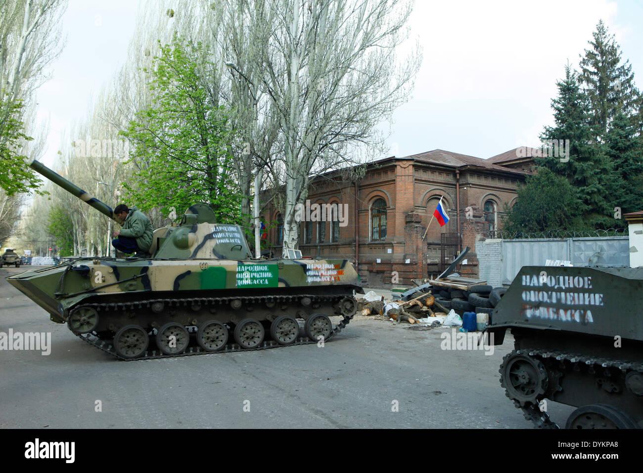Sloviansk, Ukraine. 21st Apr, 2014. In photo: tanks on the barricade to protect the occupied ukrainian spy office. Stock Photo
