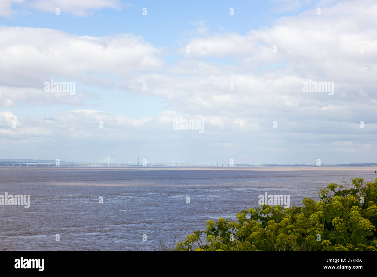 View from Portishead of the second Severn crossing from England to Wales - Stock Image