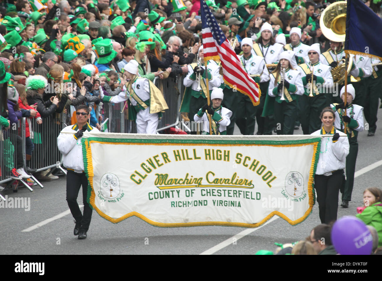 The Clover Hill High School band at the Saint Patrick's Day parade