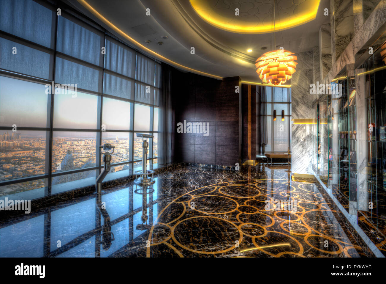 Observation Deck at 300 inside of the Etihad Towers, Abu Dhabi, United Arab Emirates - Stock Image
