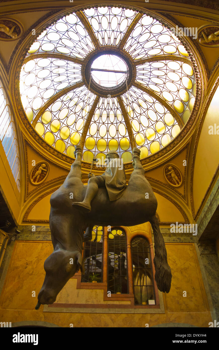Horse statue by David Cerny, Palac Lucerna arcade, central Prague, Czech Republic, Europe - Stock Image