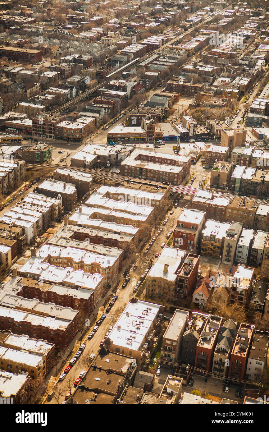 aerial view, suburb of Chicago, Illinois - Stock Image