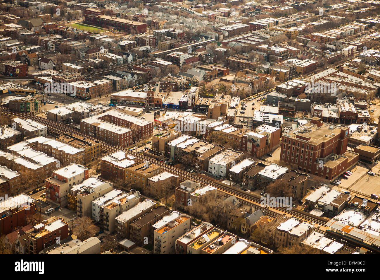 aerial view, suburbs of Chicago, Illinois - Stock Image