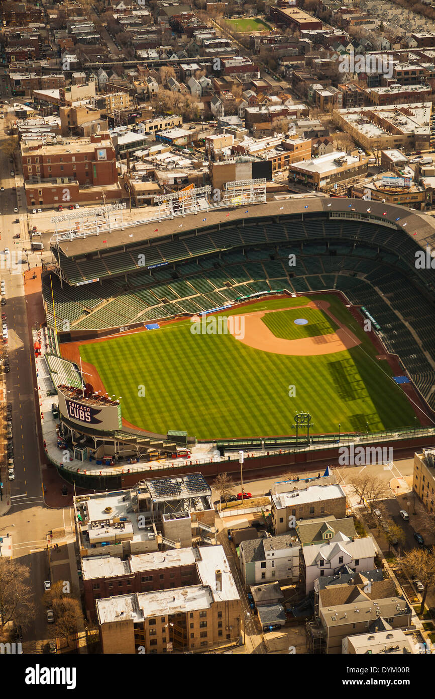 aerial view of Wrigley Field Ballpark, Chicago, Illinois - Stock Image