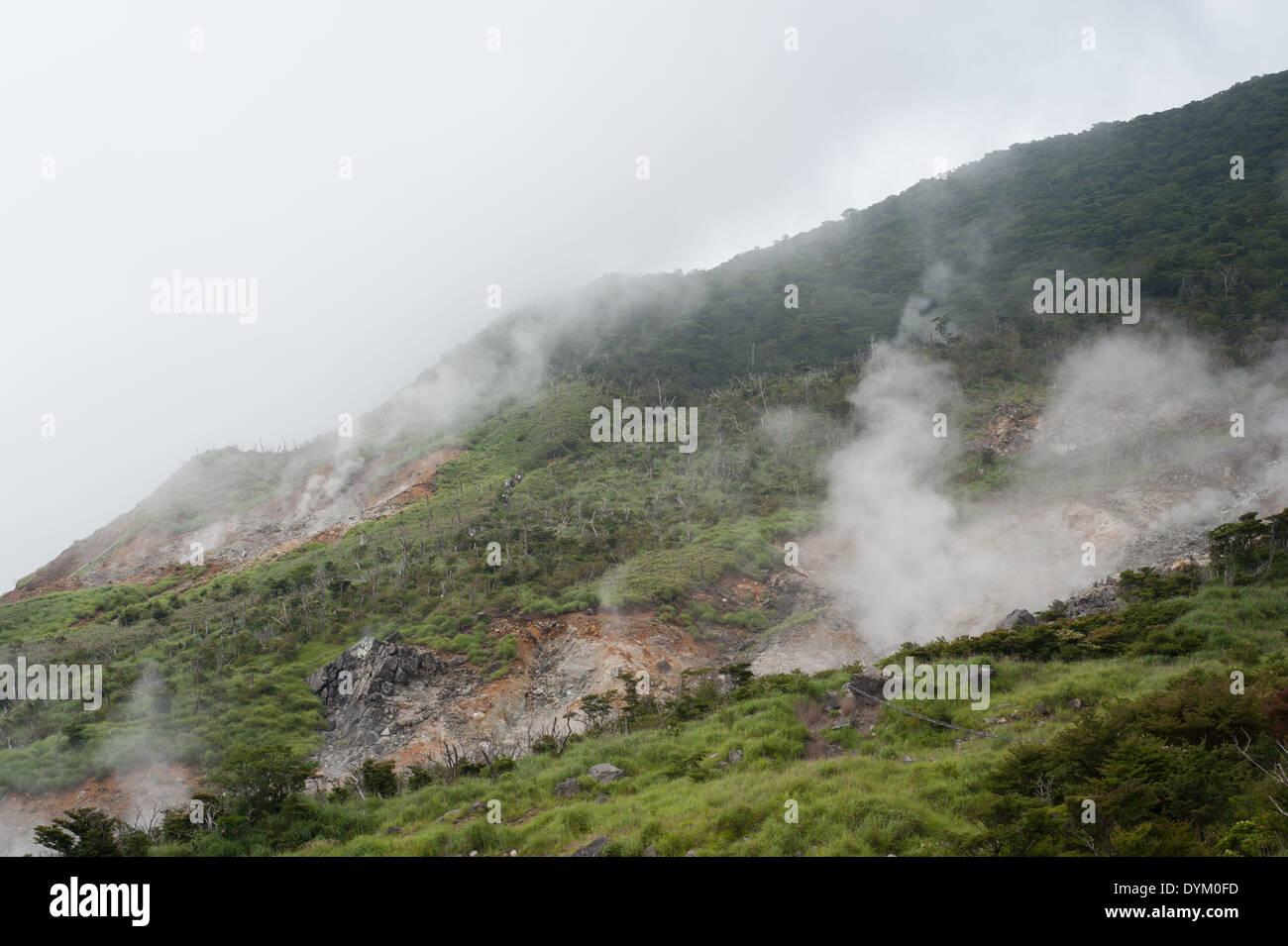 Smoke In Owakudani, Hakone, Kanagawa Prefecture, Japan - Stock Image