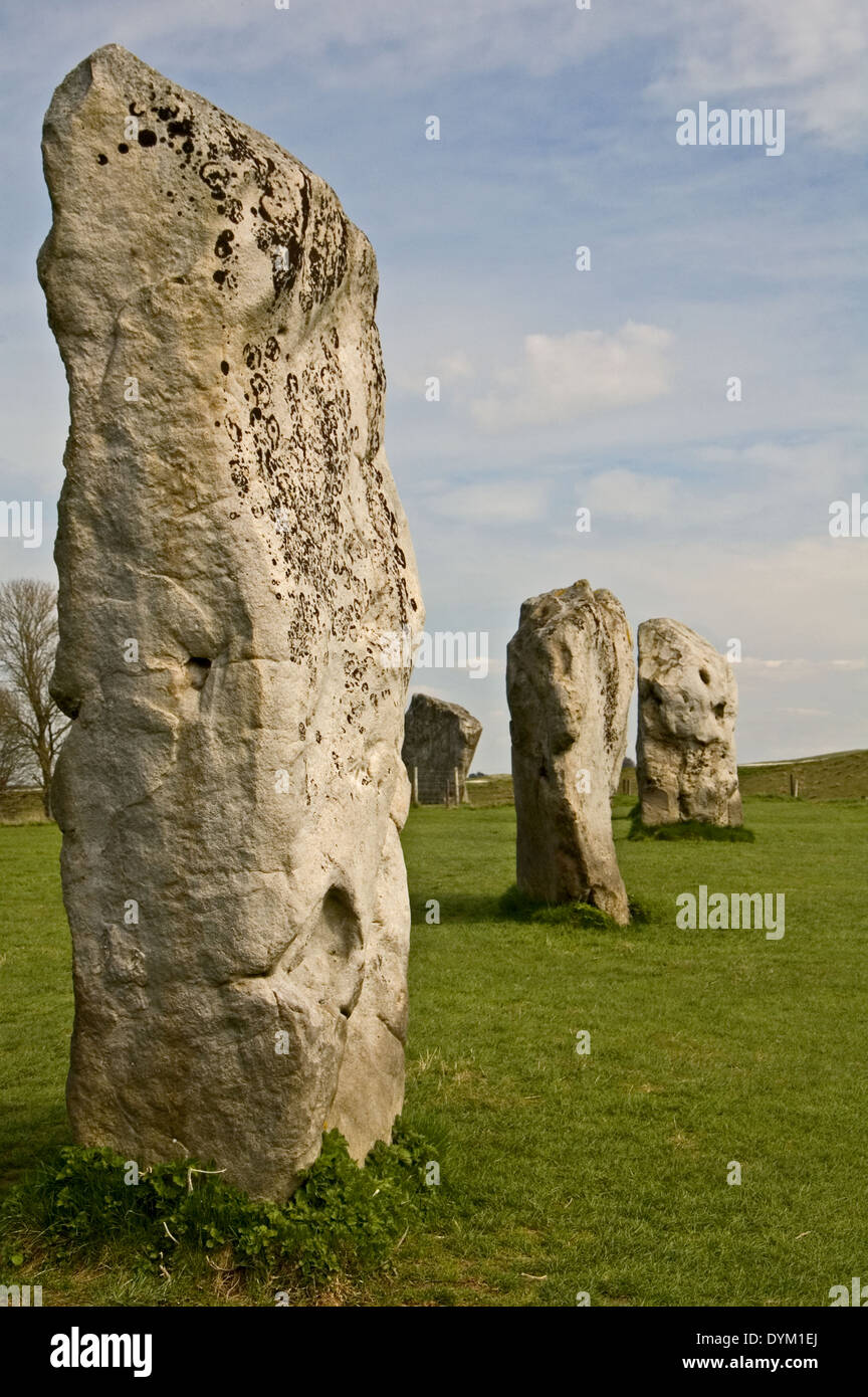 Standing stones forming part of the neolithic stone circle site at Avebury. - Stock Image