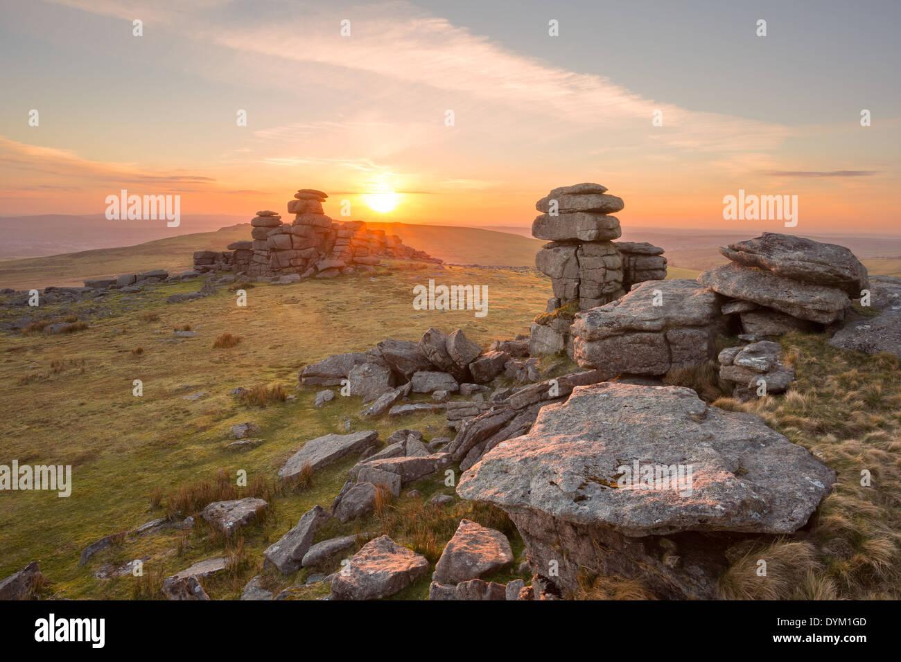 Sunset on Staple Tor Dartmoor national park Devon Uk - Stock Image