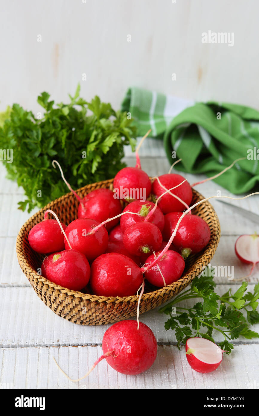 fresh radishes in a bowl, food closeup - Stock Image
