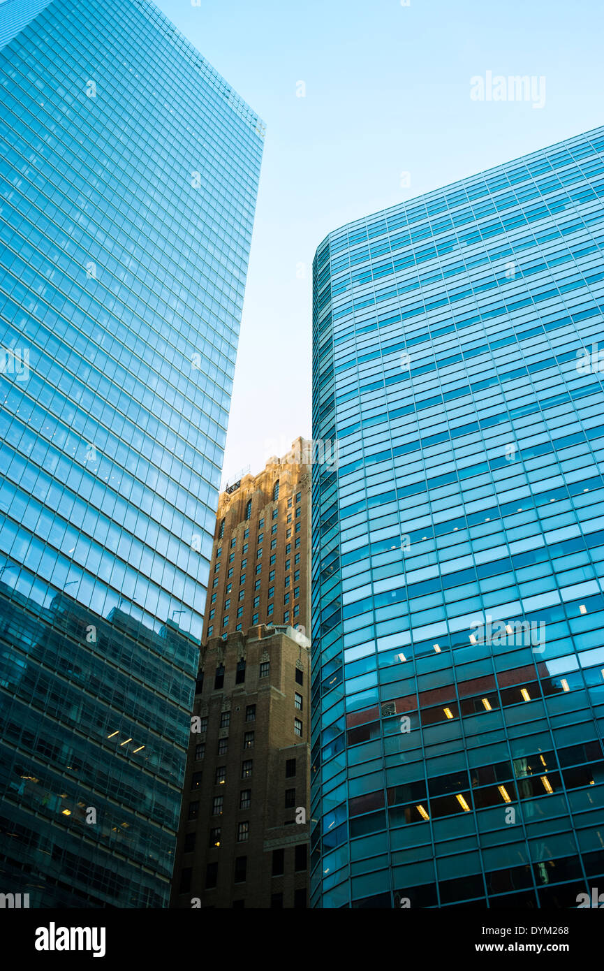 Tall glass buildings in Lower Manhattan New York City - Stock Image