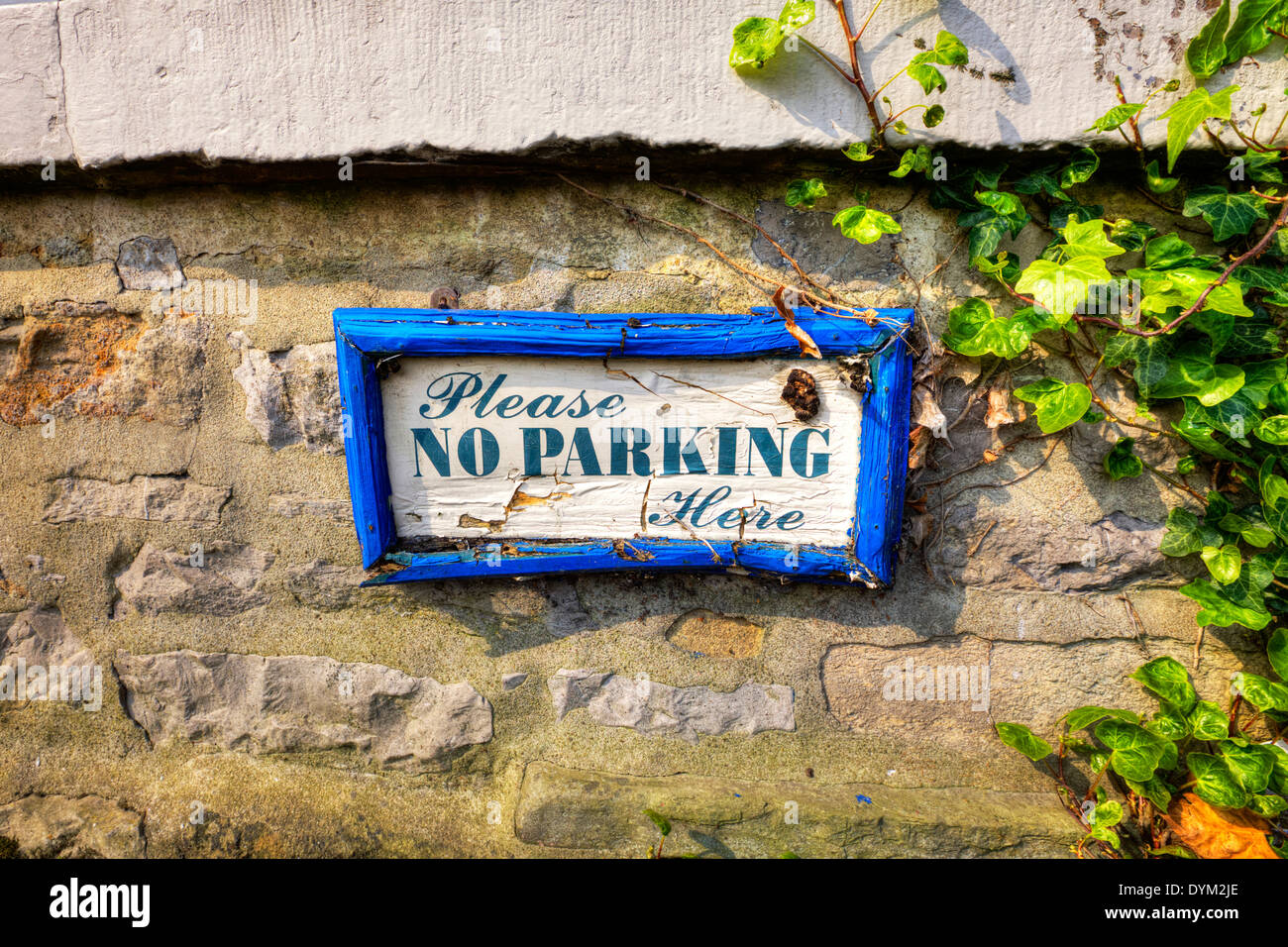 No Parking sign old wood wooden Yorkshire Dales National Park, UK England GB - Stock Image