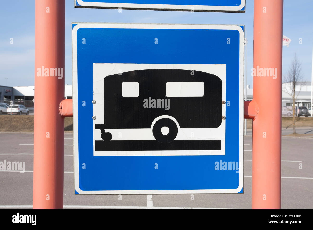 trailer park parking lot sign, Finland Stock Photo