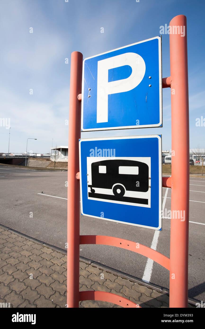 trailer park parking lot sign, Finland Stock Photo