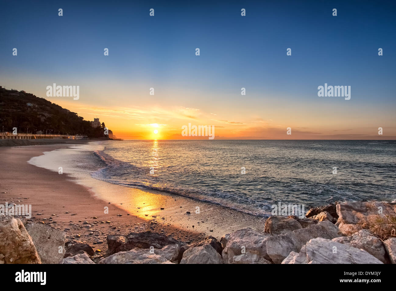 Sunrise at Finale Ligure, Italy, EU Stock Photo